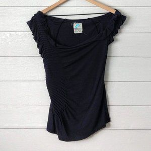 Anthropologie C. KEER Gathered Drape Front Tee S